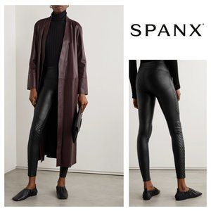 SPANX Quilted Faux Leather Black Quilted Leggings